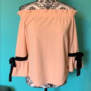New York & Company Sweet Pea Off Shoulder Blouse S